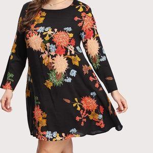 SHEIN Dresses - Long-sleeved Flower Print Swing Dress